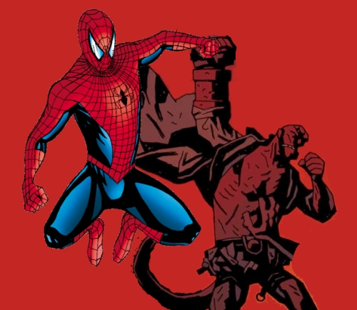 Hellboy Spiderman teamup