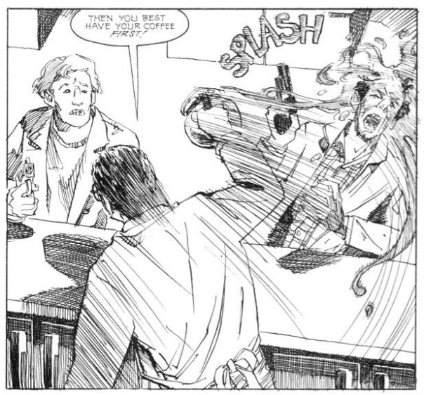 A panel from the original comic written by John Wagner with art by Vince Locke