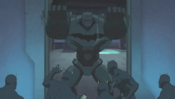The early model for Batman's mech suit which makes a brief appearance in this movie.